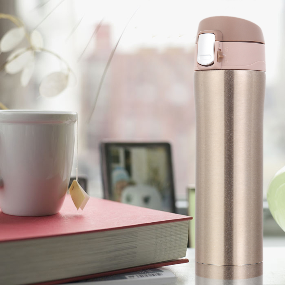 450ml Stainless Steel Insulated Thermos Cup Flask Travel Mug Water Drink Bottle Gold