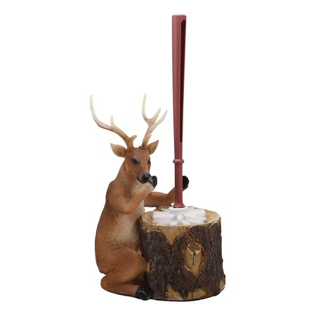 Lodge Toilet Brush - Ebros Rustic Cabin Lodge Decor Whimsical Forest Wildlife Animal Stinky Potion Toilet Brush and Tree Stump Base Holder Bathroom Gift 2 Piece Set (8 Point Deer)