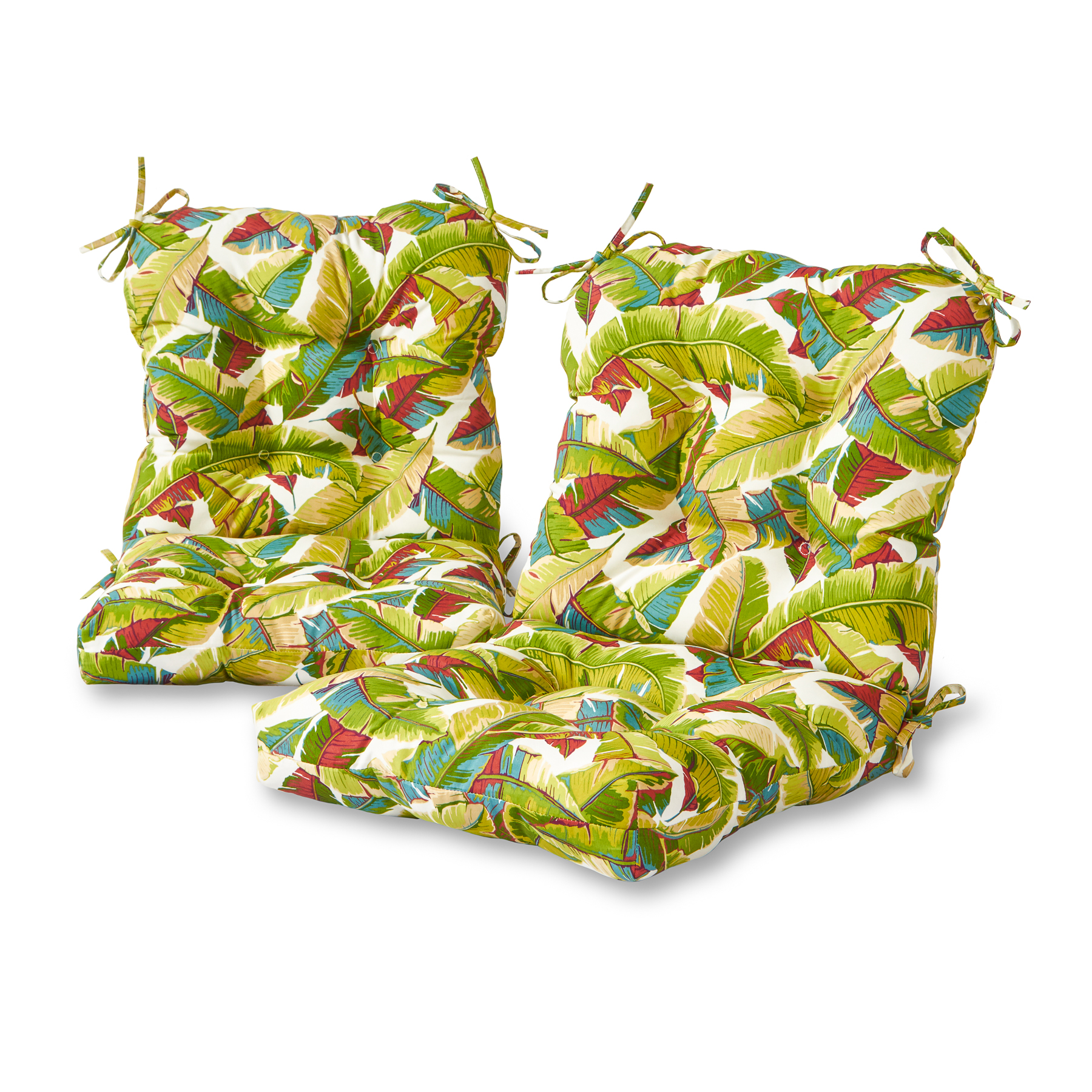 Greendale Home Fashions Palm Leaves Outdoor Chair Cushion, Set of 2