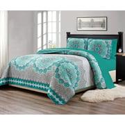"Fancy Linen 7pc King/California King Size Bedspread Quilt Over Size 118"" X 95"" Aqua Turquoise Coastal Plain"" Grey Green"" White Elegant Design And Sheet Set # Oslo Aqua"
