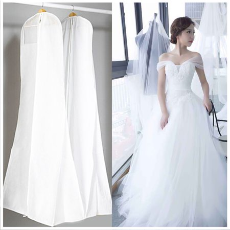 60 Gown Bag (72'' Wedding Dress Storage Dustproof Breathable Prom Ball Gown Clothes Zip Bag Cover White For Closet dress Bridal Gown Garment )