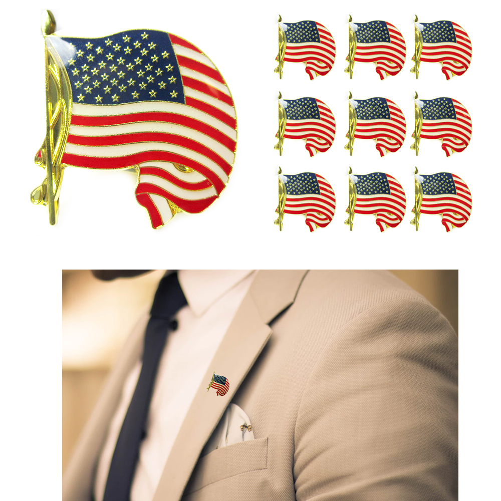 10 USA Cufflink Gold American Flag Lapel Pin Tie Tack United States Badge Brooch by ACE WORLD