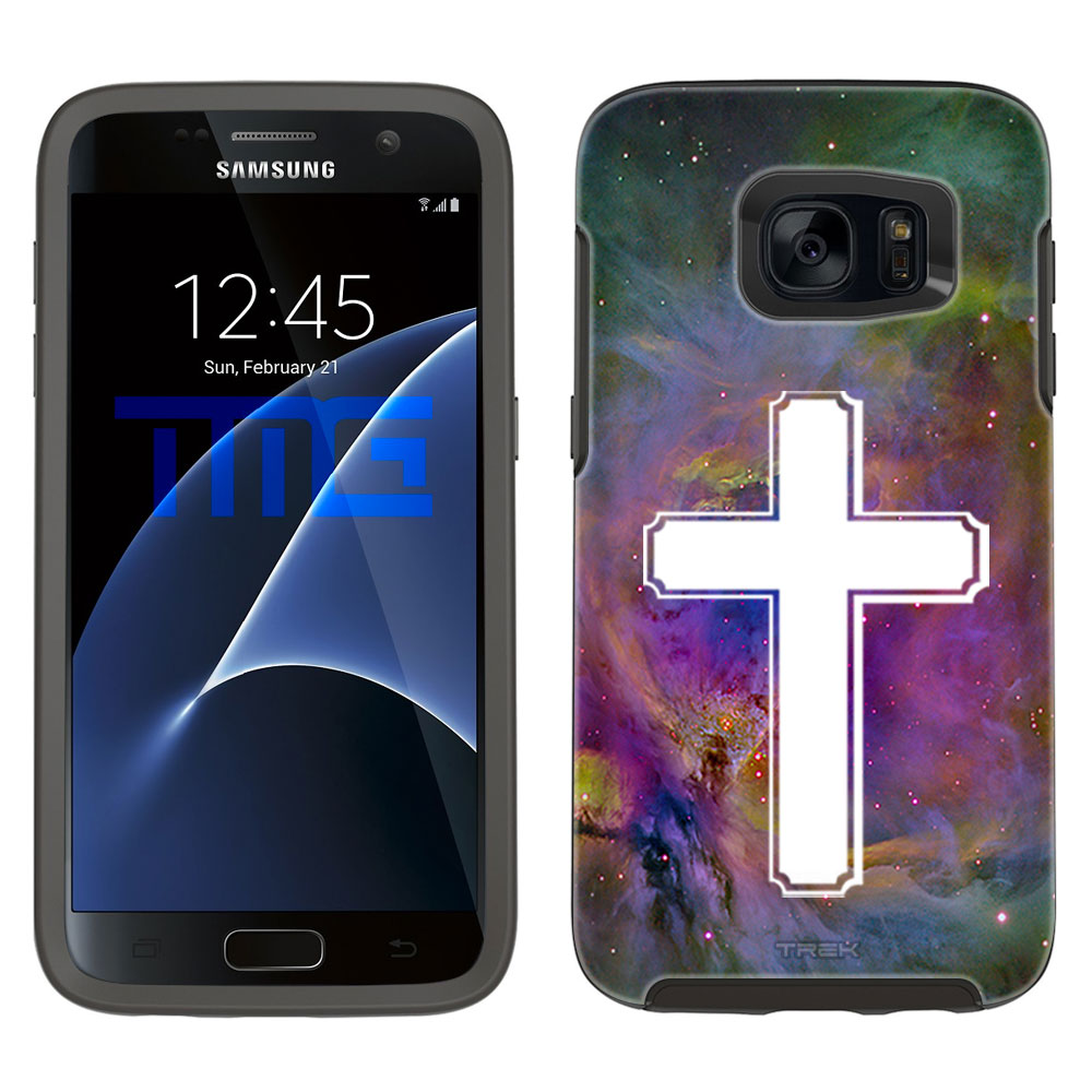 SKIN DECAL FOR OtterBox Symmetry Samsung Galaxy S7 Case - Cross on Nebula Multicolor DECAL, NOT A CASE