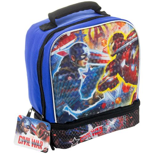 Superhero Disney Matchbox Kids Insulated 2-Section Padded Lunch Bags Lunchbox Captain America
