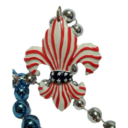 Fleur Stripe - Red White Blue Fleur De Lis Stars Stripes Mardi Gras Beads Necklace Party Favor