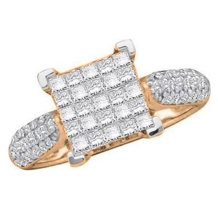 1.00 Carat (ctw) 10K Rose Gold Princess & Round Cut White Diamond Ladies Bridal Invisible Set Engagement Ring 1 CT