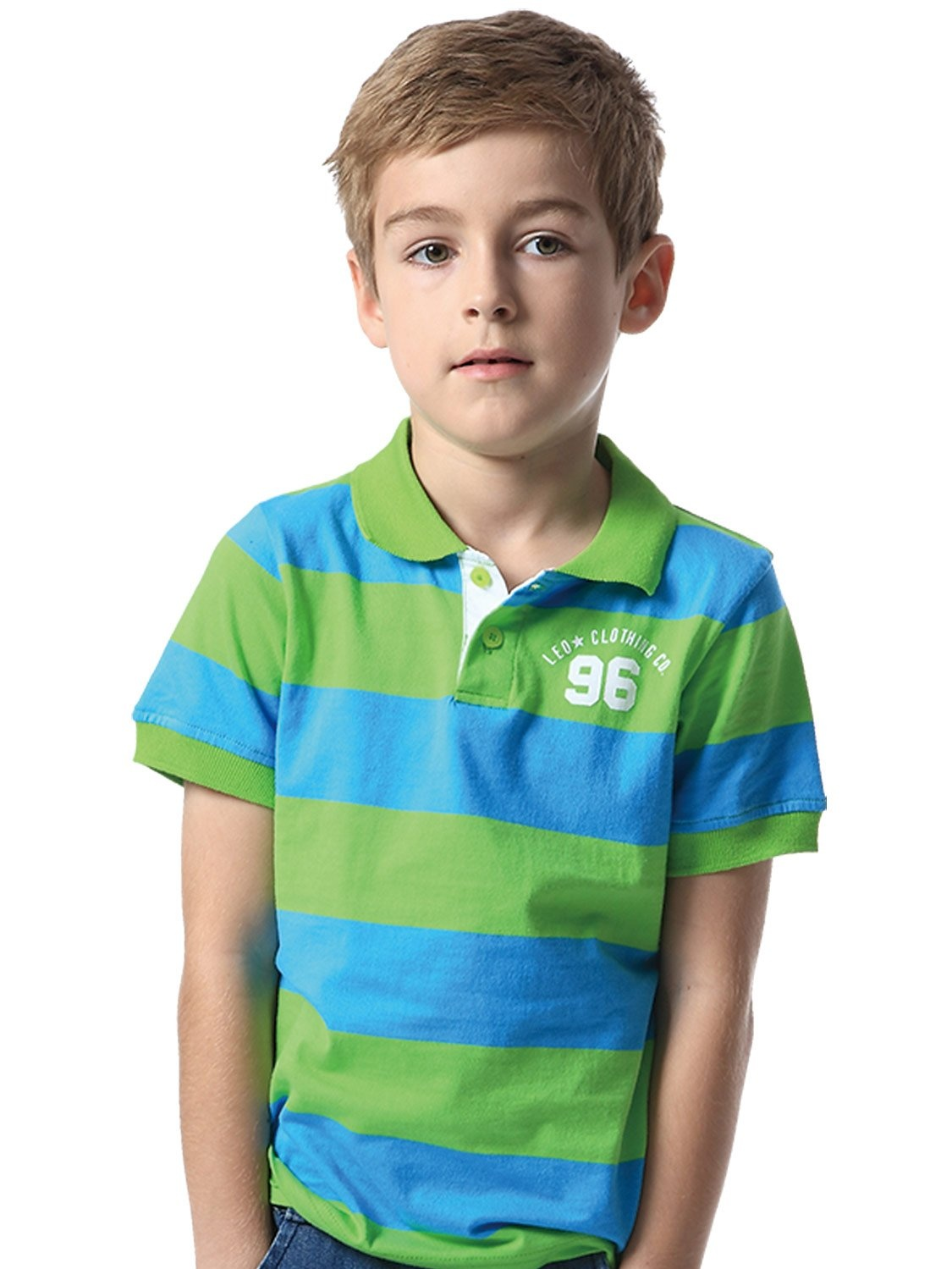 Leo&Lily Big Boys' Kids' Cotton Jersey Stripe Polo Shirts T-Shirts
