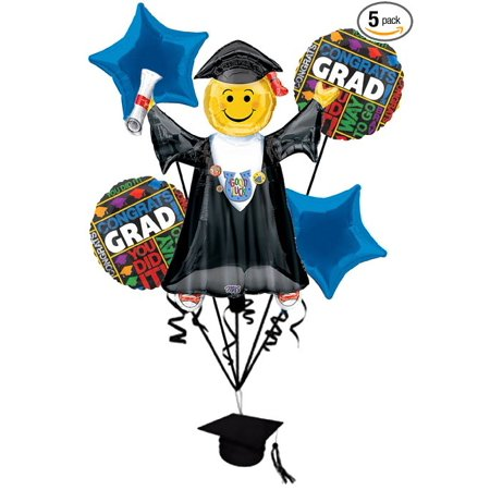 Bright Grad Congratulations 6pc Balloon Pack Royal Blue - Party Decorations (Congratulations Balloons)