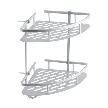 - Akozon 2 Tier Bathroom Corner Shelves Wall Mounted Rustproof Durable Triangle Aluminum Hanging Shower Shelf Caddy Bath Rack Kitchen Storage Basket Organizer Hoder Space Saver