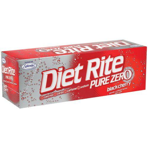 Diet Rite Pure Zero Black Cherry Soda, 12 fl oz, 12 pack