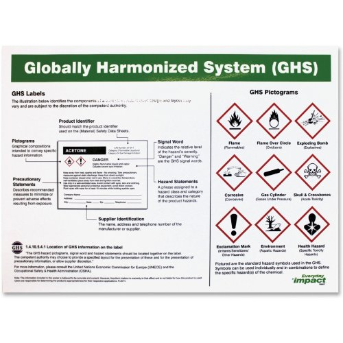 """Impact Products Ghs Label Guideline English Poster - Guidance - 24"""" Width X 18"""" Height - Assorted (lfp-799077)"""