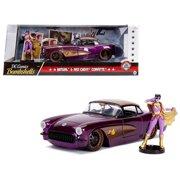 1957 Chevrolet Corvette Purple with Batgirl Diecast Figure