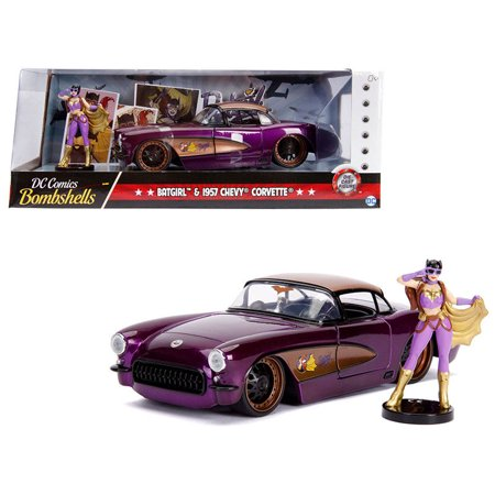 Chevrolet Corvette Museum (1957 Chevrolet Corvette Purple with Batgirl Diecast Figure