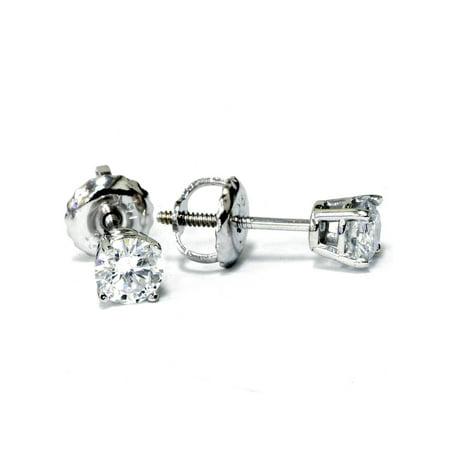 Screw Back Signed - 1/2ct Diamond Studs Screw Back 14K White Gold