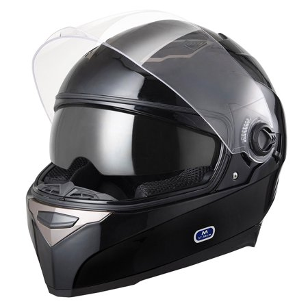 Yescom DOT Full Face Motorcycle Helmet Dual Visors Sun Shield Lightweight ABS Air Vent Motorbike Touring Black