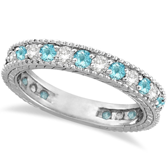 Allurez Diamond and Aquamarine Eternity Ring Band 14k Whi...