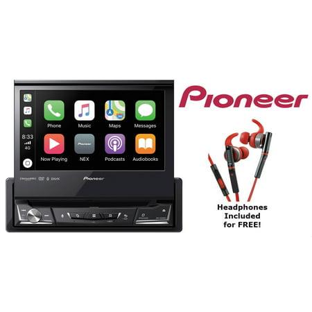 Pioneer AVH-3500NEX DVD Receiver with KH-SR800R Red in Ear Sport Headphones (Pioneer In Ear Headphones)