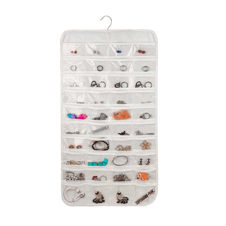 Hanging Jewelry Organizer, EEEKit 80 Pockets Double Sided Hanging Jewelry Organizer Display Pouch Accessories Holder Storage Bag, Ideal for Bathroom Travel Holding Jewelries Use - Side Hanging Display