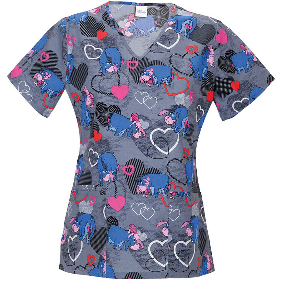 "Disney's Winnie The Pooh ""Eeyore Hugs"" Women's Printed V-Neck Scrub Top"