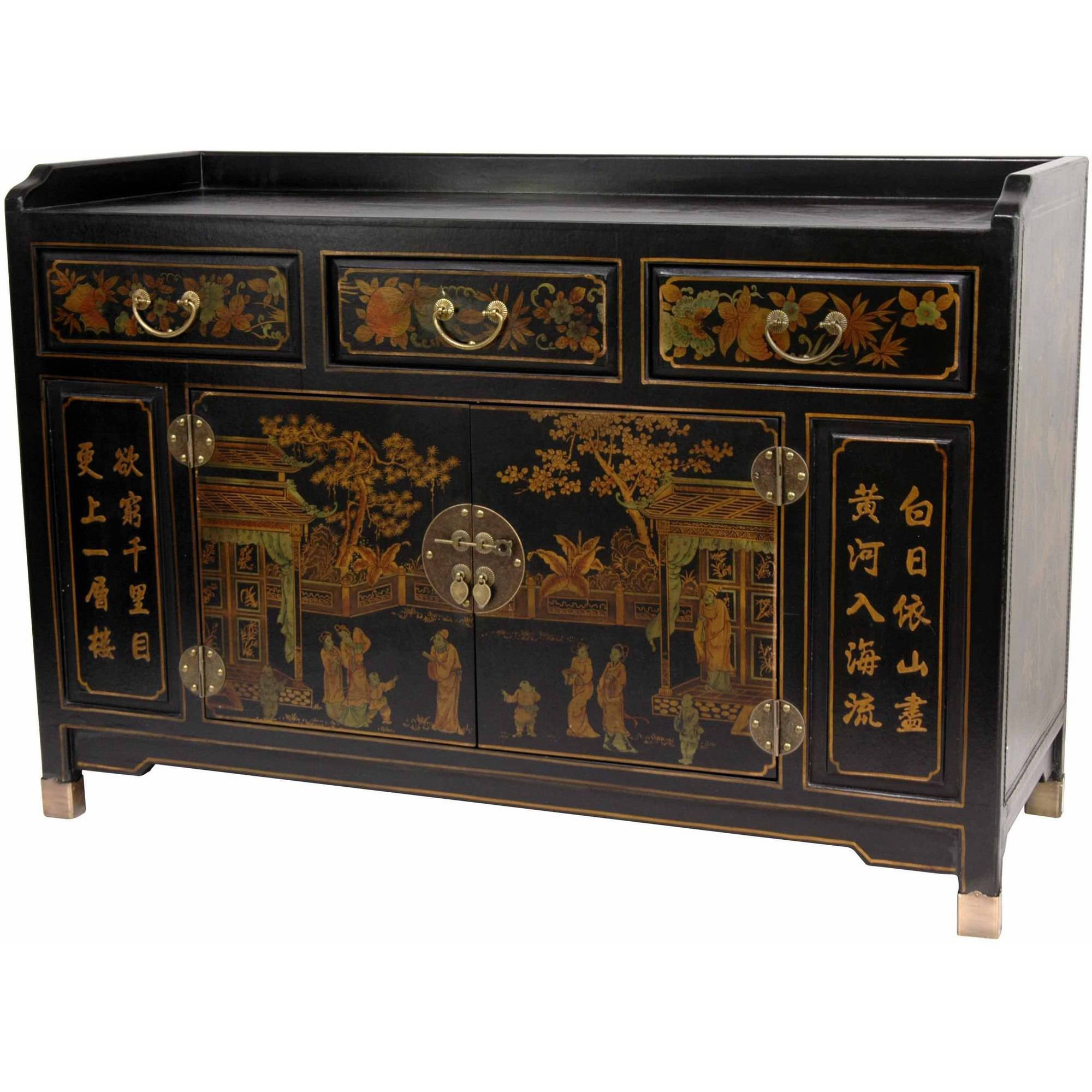 Black Lacquer Village Life Buffet Table by Oriental Furniture