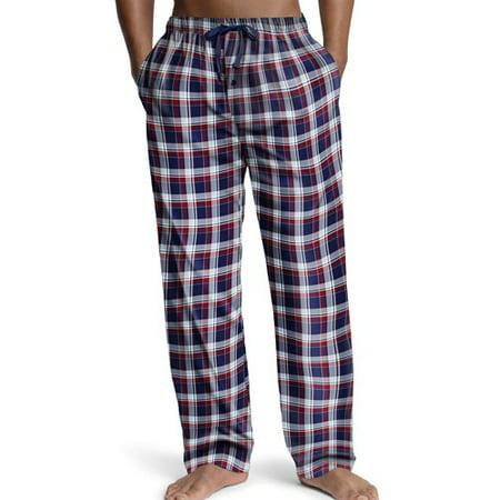 Hanes Big Mens Woven Plaid Drawstring Sleep Pajama Lounge Pant, 40161 Red and Navy Plaid / XXXXX