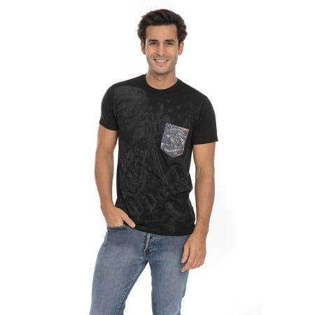 (Biker Ride Hard Live Free Choppers Motorcycle Skull USA Flag Soft T-Shirt Tee Printed Pocket Unsex Mens - Black)