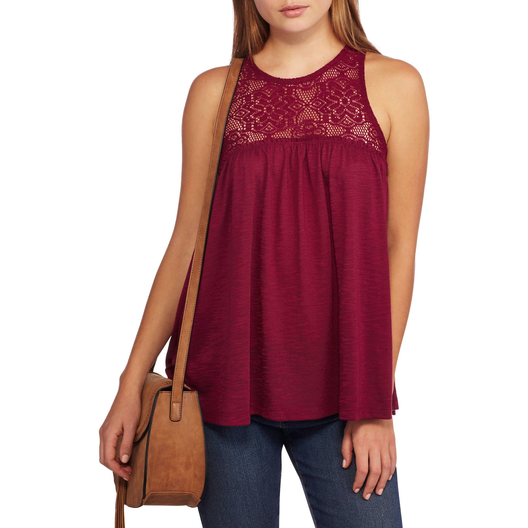 No Boundaries Juniors' Lace Tank with Keyhole Back