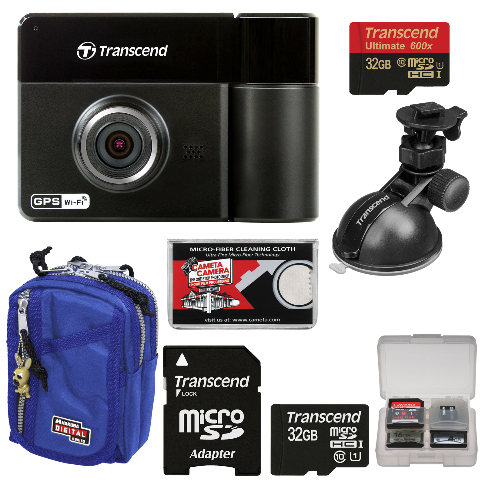 Transcend DrivePro 520 1080p HD GPS Wi-Fi Car Dashboard Video Recorder with Suction Cup + (2) 32GB Cards + Case + Kit