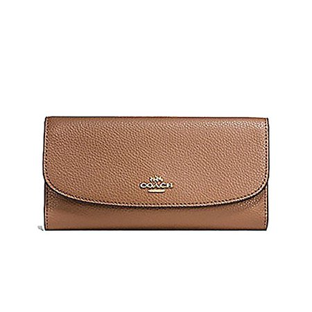 Coach Pebbled Leather Checkbook Wallet Clutch - #F16613 Trim Wallet Clutch