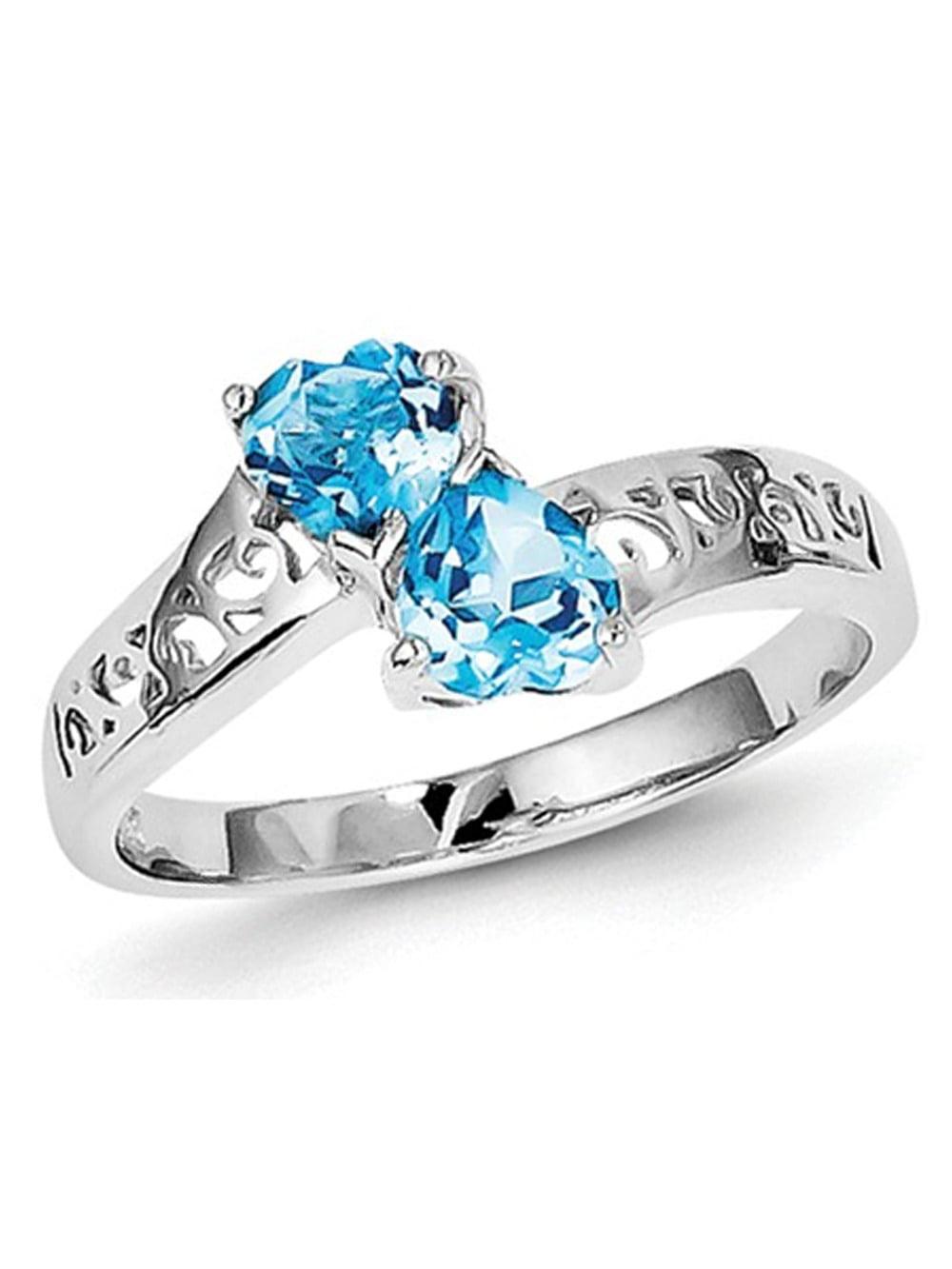 1.00 Carat (ctw) Swiss Blue Topaz Heart Ring in Sterling Silver