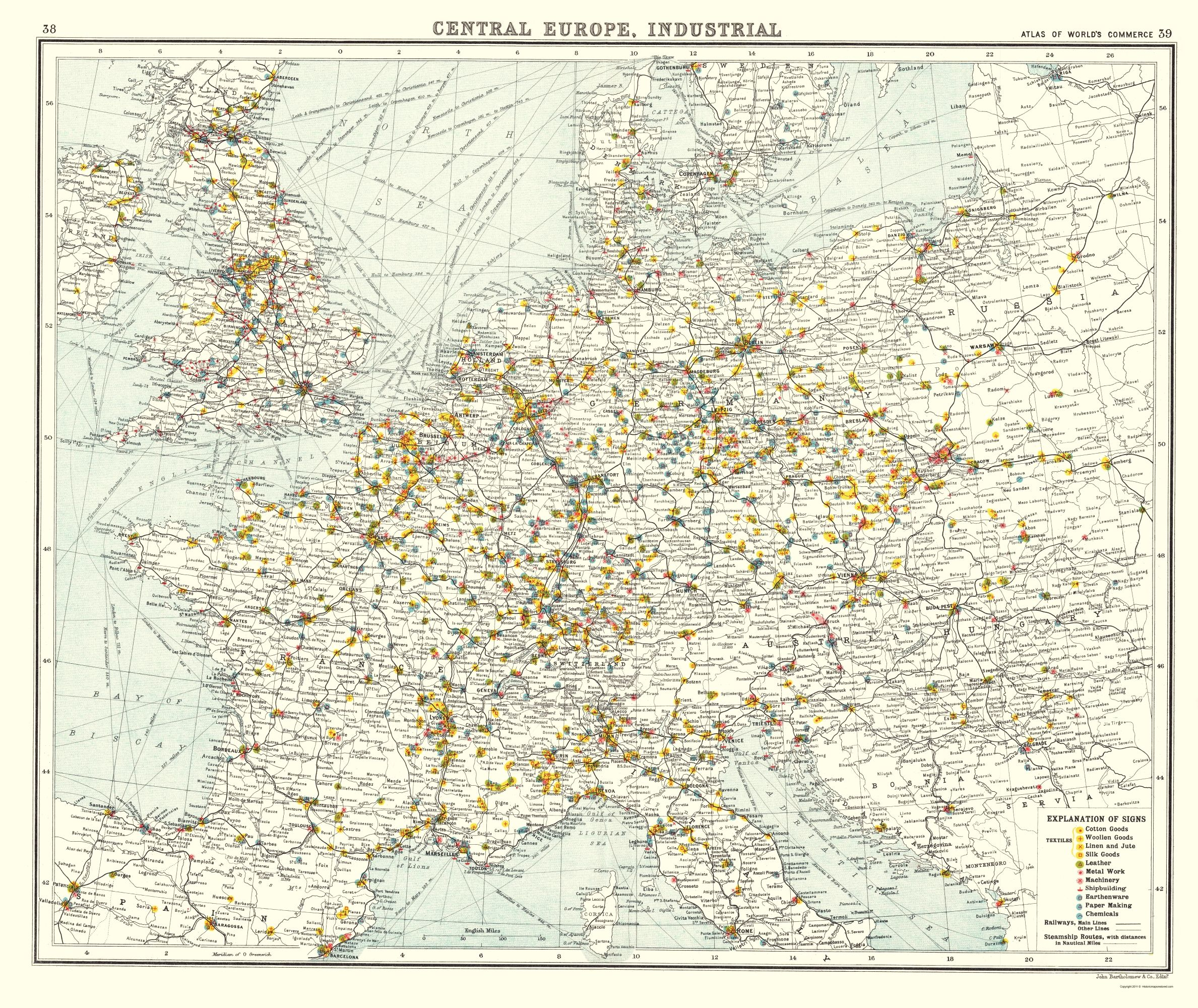 Old Europe Map - Central European Industrial Production - Newnes ...