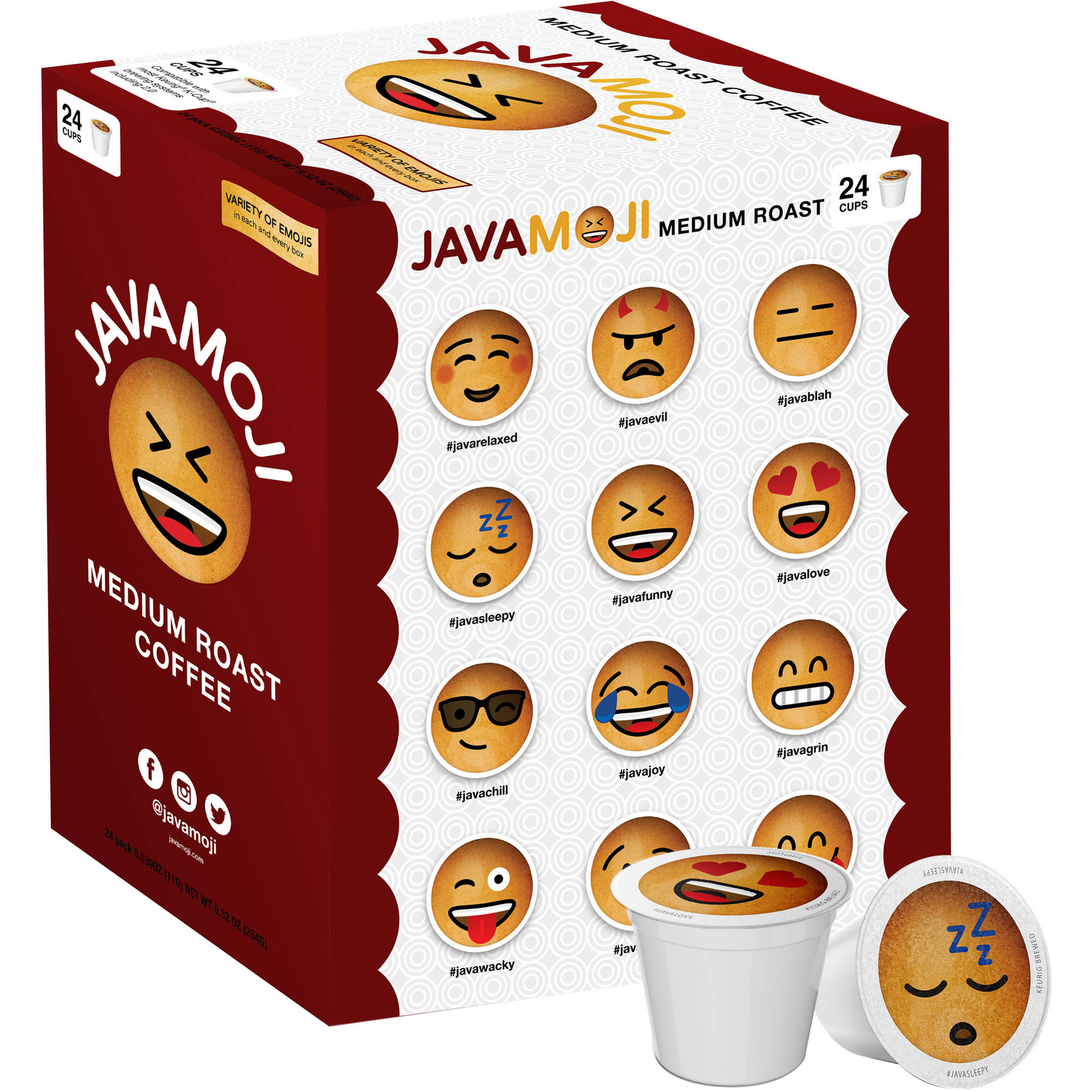 JavaMoji, Emoji K-Cup Pods, Medium Roast Coffee, 24 Count
