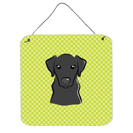 Checkerboard Pink Yellow Labrador Aluminum Metal Wall Or Door Hanging Prints, 6 x 6 In. - image 1 of 1