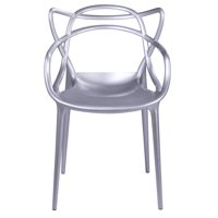 Modern Contemporary Urban Design Kitchen Dining Side Chair, Silver, Plastic