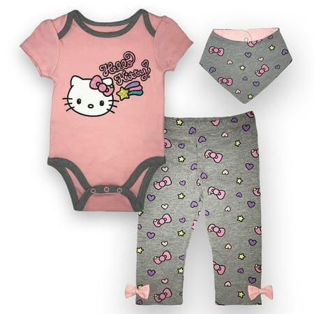 Hello Kitty Birthday Outfit (Hello Kitty Bodysuit, Pant and Bib Set, 3 pc Set (Baby)