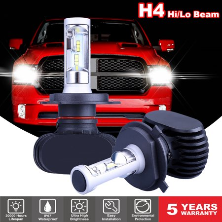 GTP Pair H4 9003 HB2 CSP CREE SMD COB LED Headlight Waterproof Light Bulb Conversion Kit 16000LM 6000K Xenon White White Xenon H4 Bulbs