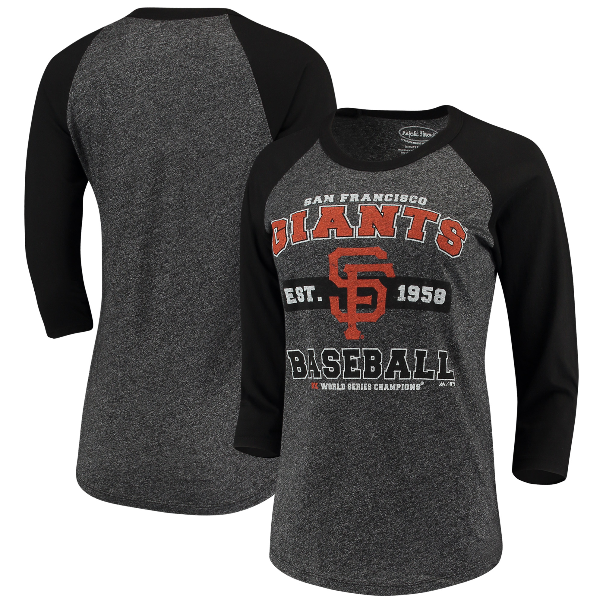 San Francisco Giants Majestic Threads Women's Tri-Blend 3/4-Sleeve Raglan T-Shirt - Black