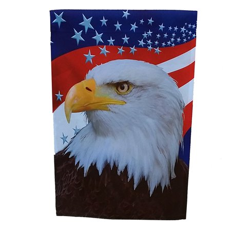 GiftWrap Etc. Large Patriotic Garden U.S. Flag - Red, White, and Blue Stars, American Eagle, Decorations for Fourth of July, Veteran's Day, Memorial Day, 28