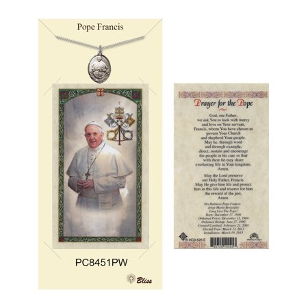 Pewter Pope Francis medal on a 18 inch Heavy Curb Chain with a Prayer to the Pope Prayer Card.