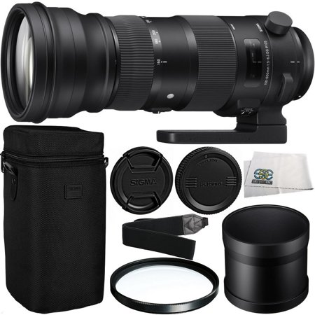 Sigma 150-600mm f/5-6.3 DG OS HSM Sports Lens for Canon EF with Manufacturer Accessories + 105mm Multi-Coated UV Filter + Shoulder Strap + Microfiber Cleaning (Micro Lens Wall Bracket)