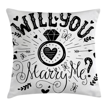 Western Theme Classroom Decorations (Engagement Party Decorations Throw Pillow Cushion Cover, Western Themed Will YOu Marry Me Quote with Hearts Image, Decorative Square Accent Pillow Case, 16 X 16 Inches, Black and White, by)