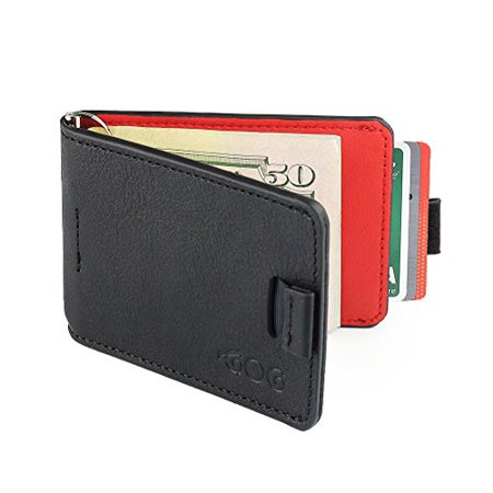 7fb9b55073e5 Agog - Mens Ultra Slim Bifold Leather Wallet Pull Tab with Money Clip Red &  Black - Walmart.com