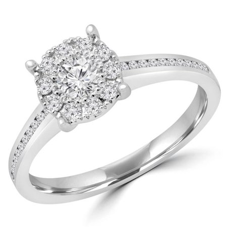 Majesty Diamonds MD190119-3.75 0.4 CTW Round Diamond Cluster Engagement Ring in 14K White Gold - Size 3.75 - image 1 of 1