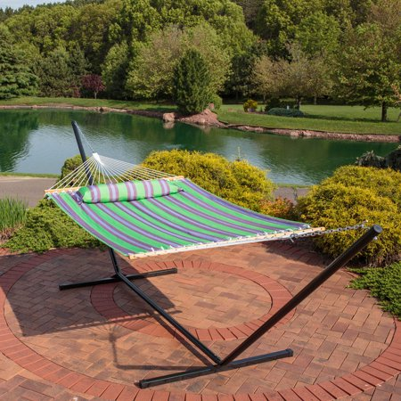 Fabric Hammock (Sunnydaze 2 Person Freestanding Quilted Fabric Spreader Bar Hammock with 12-Foot Stand-Includes Detachable Pillow, 350 Pound Capacity, Midnight Jungle)