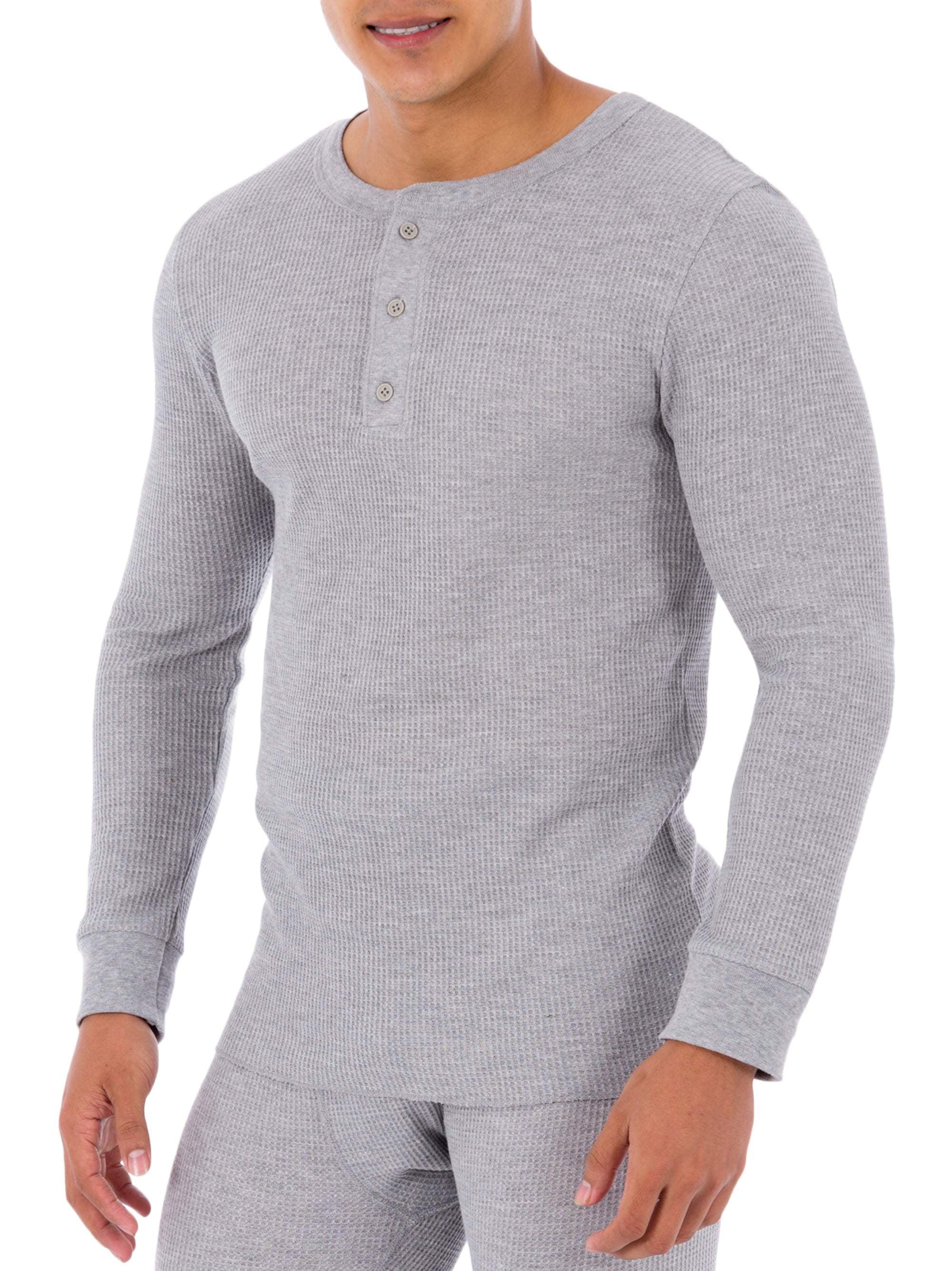 American Apparel Mens Waffle Thermal Henley Long Sleeve T-Shirt