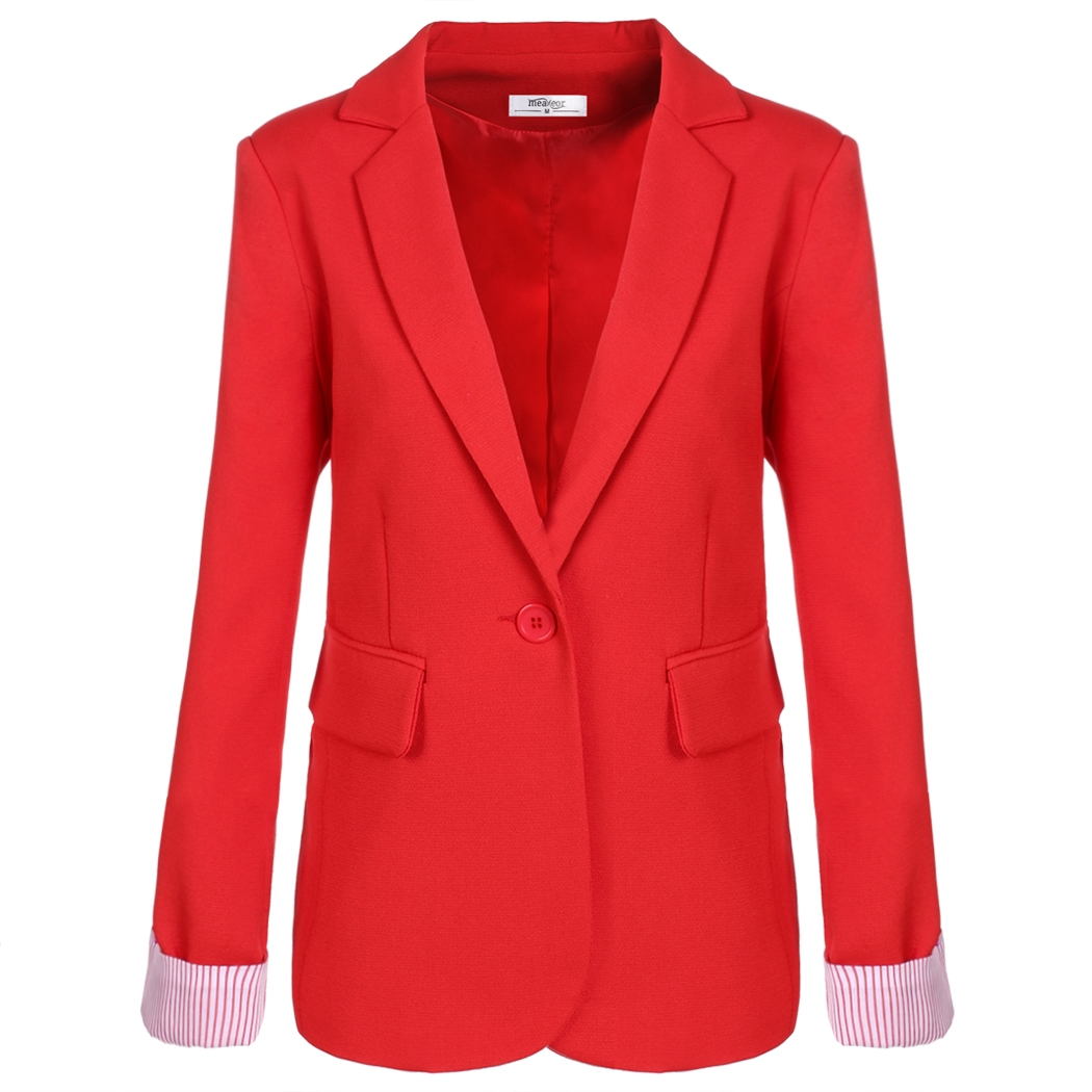 Meaneor Women  Suit One Button Blazer Stripe Cuffs Tailoring Coat