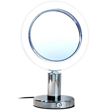 Rucci  Normal View Chrome LED Stand Mirror 7X Plus Free 3-in-1 Compact (Plum Mirror)