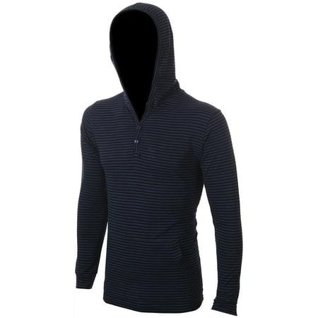 Enimay Men's Henley Raglan T-Shirt Casual Pullover Long Sleeve Hoodie Stripe Navy Small