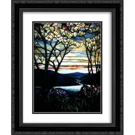 Louis Comfort Tiffany 2x Matted 20x24 Black Ornate Framed Art Print 'Magnolias and - Irish Frame