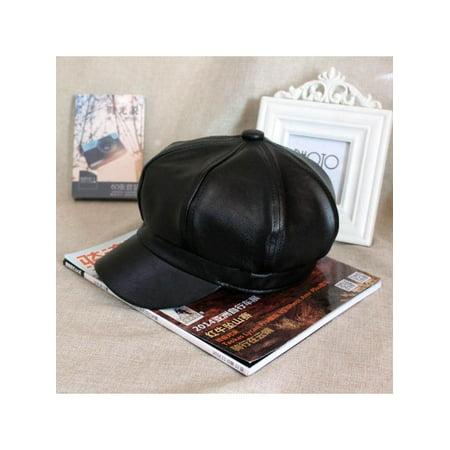 Stylish Women Casual Vintage PU Leather Octagonal Hat Caps Warm Bonnet Beret for Spring Warm Hat Winter Outdoor](Bonnets For Sale)
